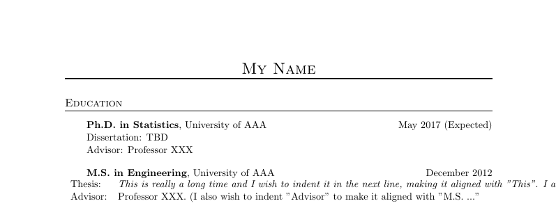 Resume Indent Latex - Resume Examples | Resume Template