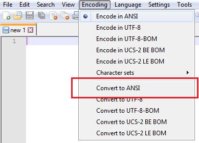 salvando documento em ANSI com notepad++