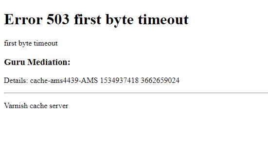 magento2  Magento 2  Error 503 first byte timeout  Magento Stack Exchange