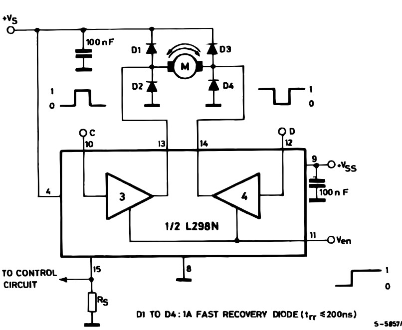 Bidirectional Motor controller circuit using IC L298 r