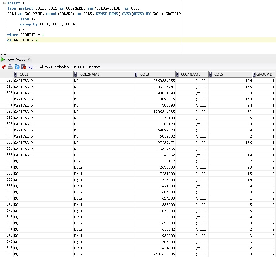 Group with summing in SQL Oracle - Stack Overflow