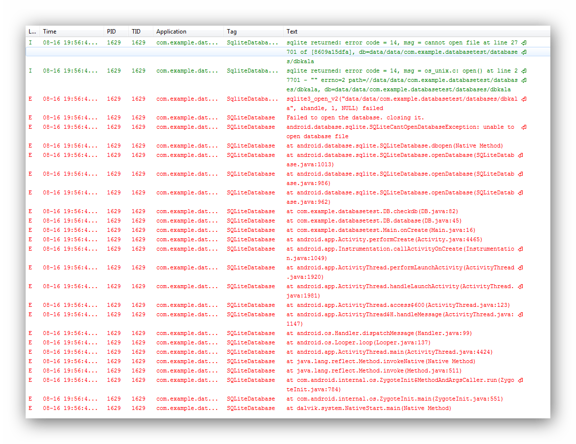 java  Error with opening database  Stack Overflow