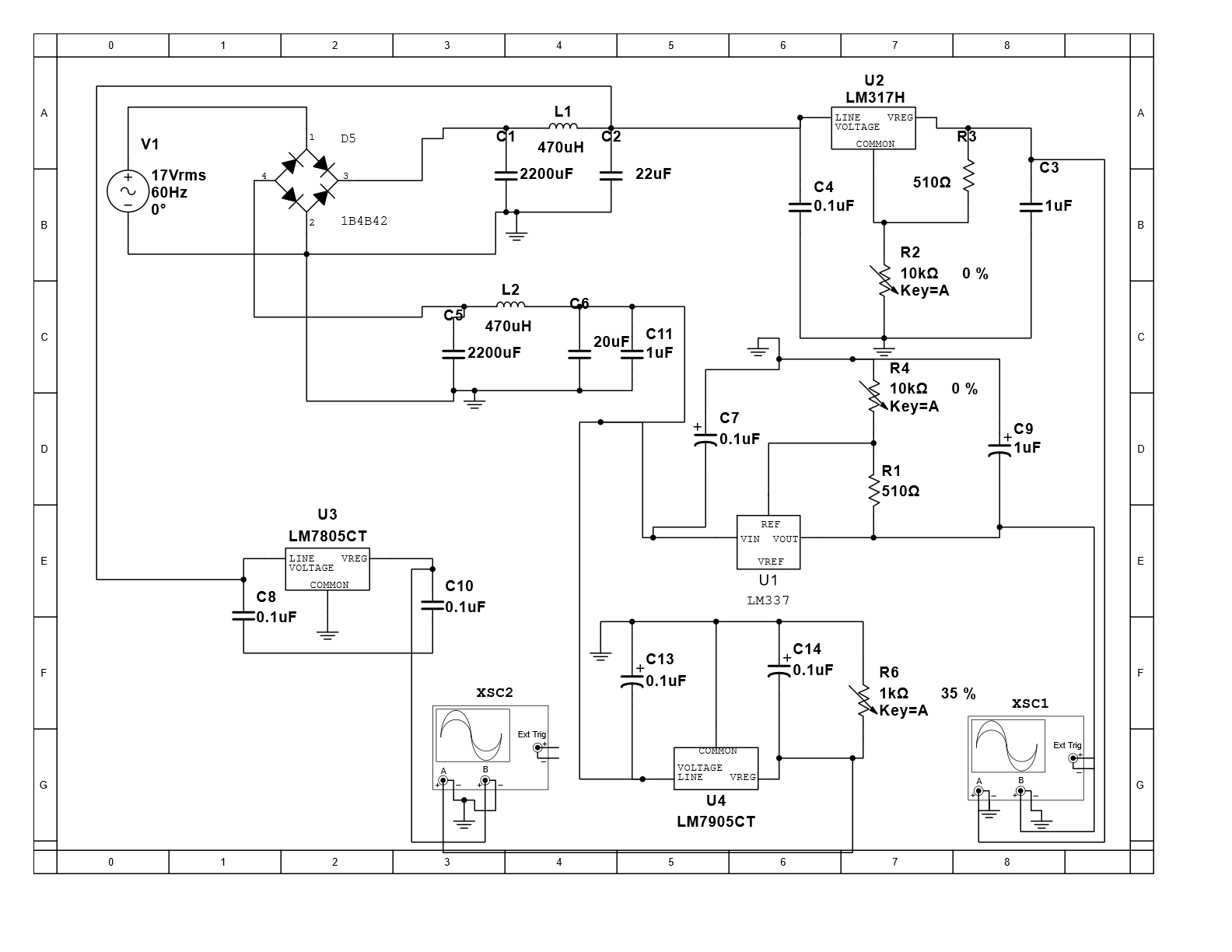 hight resolution of ac to dc power supply using full wave rectifier with 4 outputs