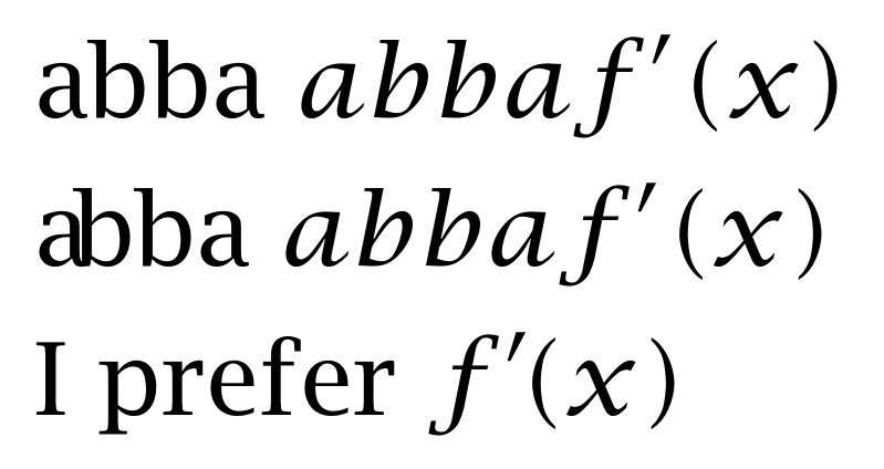 Change kerning between math characters (prime and left