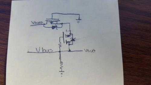small resolution of below is a picture of my circuit the grounds of both power sources are connected together and both mosfets have a low vgs threshold