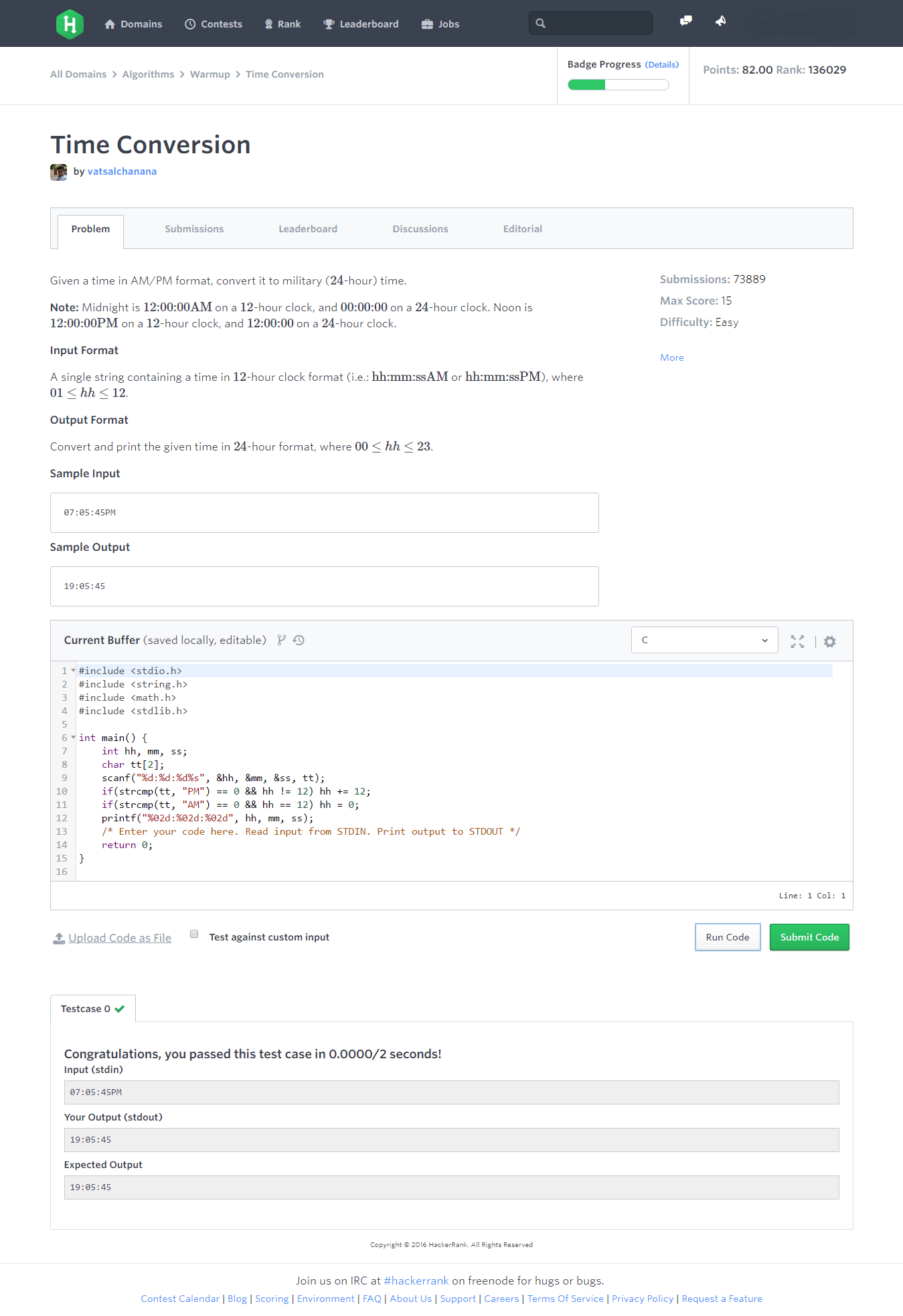 C Program Time Conversion