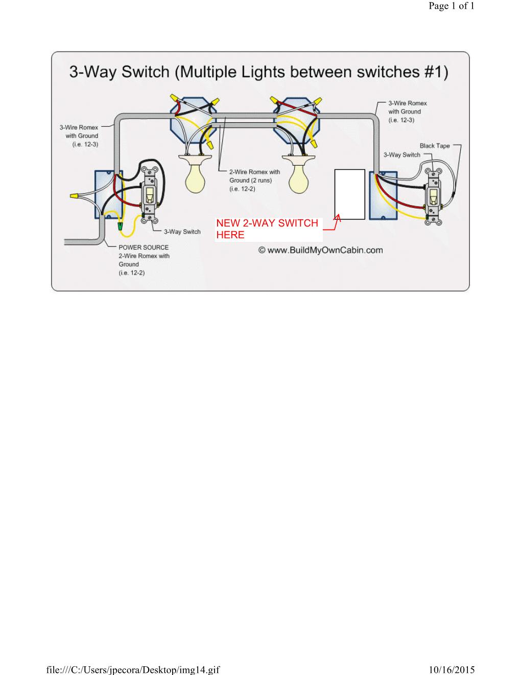 How To Wire 3 Way Switch With Multiple Lights : switch, multiple, lights, Wiring, Single, Switch, 3-way, Improvement, Stack, Exchange