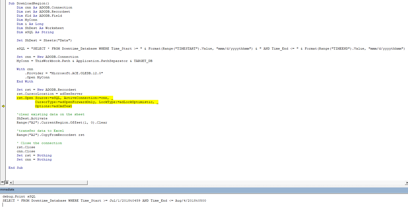 Excel Macro Sql Query Syntax Datetime