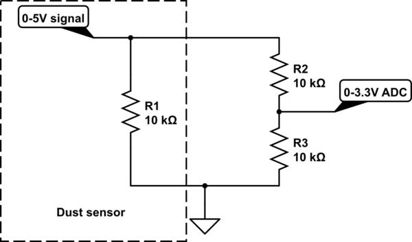 Level shifting 5V signal to 3.3V using voltage divider