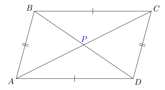 Marking angles in a parallelogram congruent using TikZ