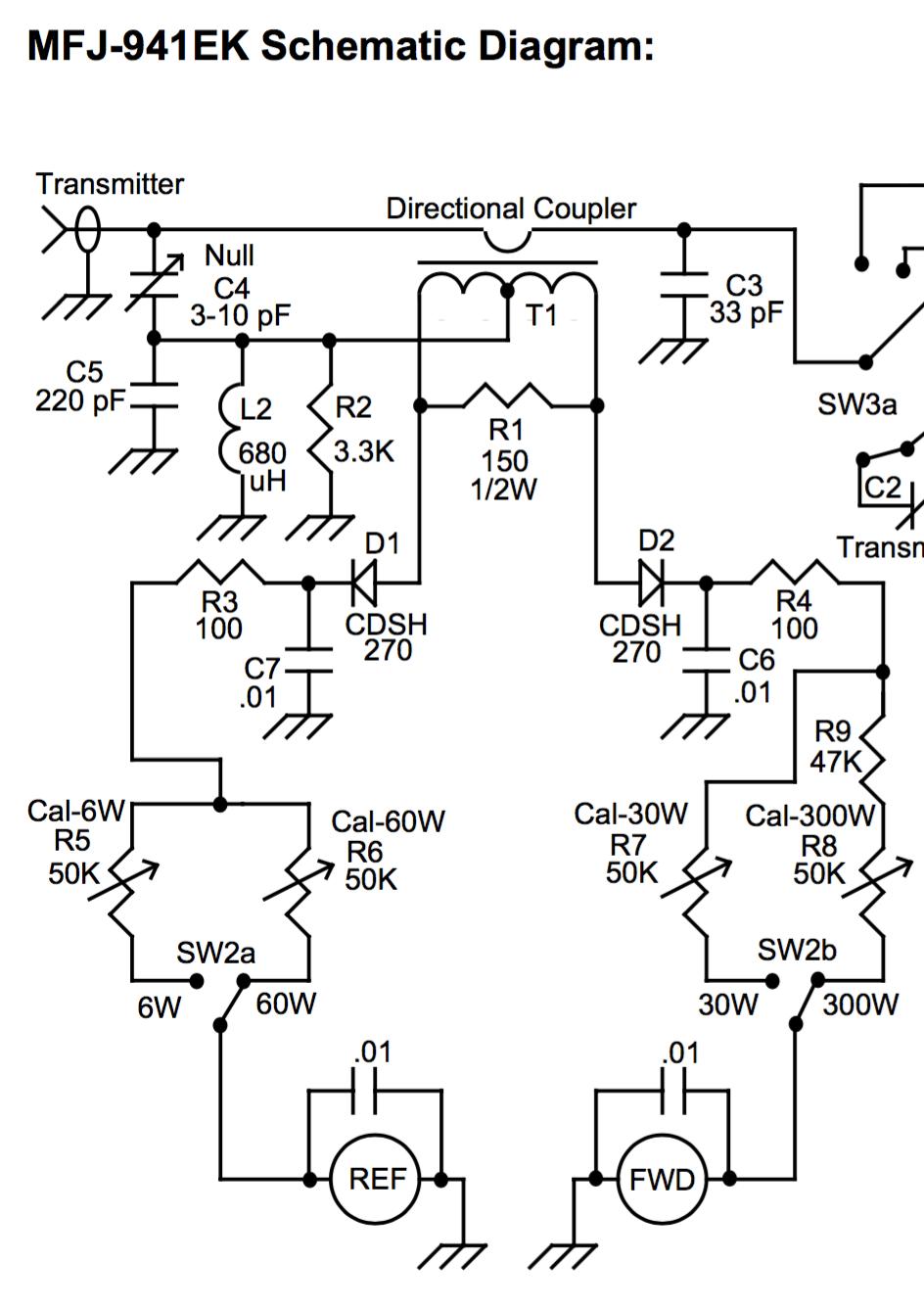 medium resolution of wattmeter half of mfj 941ek schematic diagram