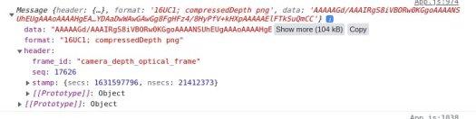 Screenshot of depth image output