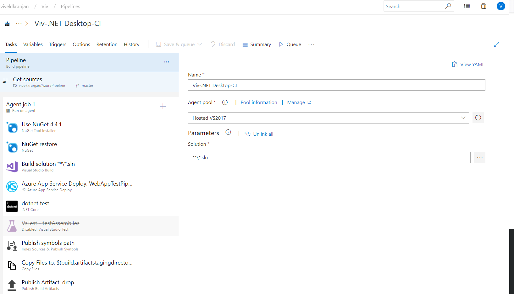 Azure CI/CD Pipeline. Running .net core build and test in