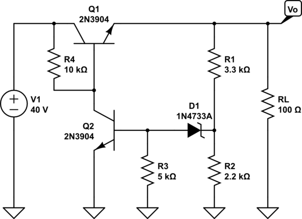 Transistor(BJT) Zenner diode voltage regulator circuit