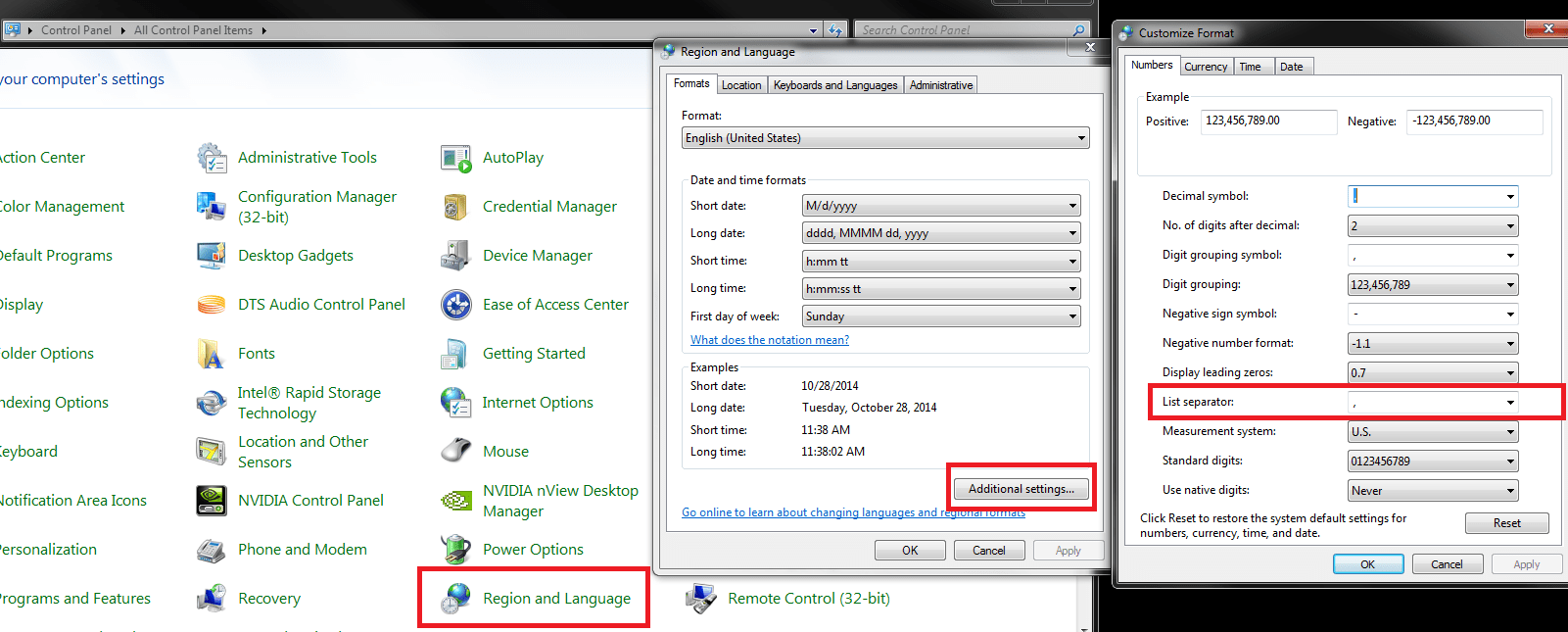 windows  Excel does not honor the delimiter setting for