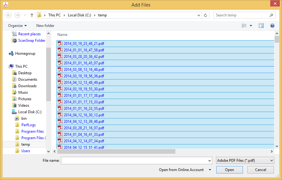 `Add files` dialog: Added files from `C:\temp`