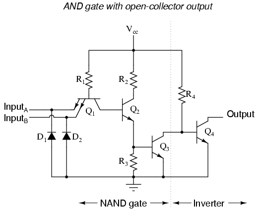 Multi-emitter transistor: does the transistor turn on per