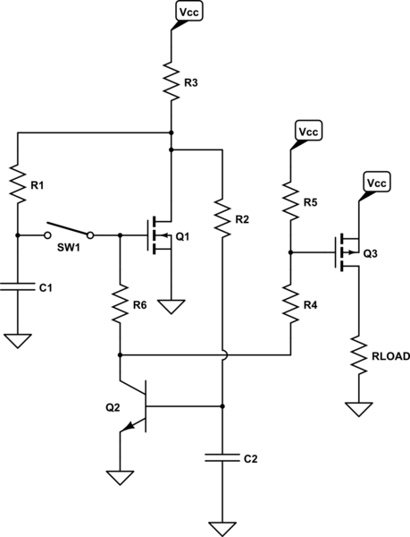 soft latching power switch circuit
