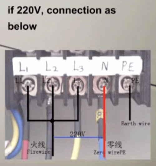 small resolution of  220v connection diagram