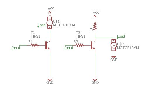 The different of Load Series and Parallel with Transistor