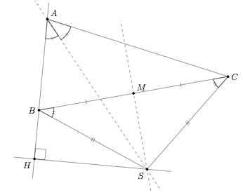 Geometry: perpendicular bisector and bisector unknown