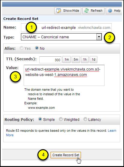 Create a CNAME Record Set