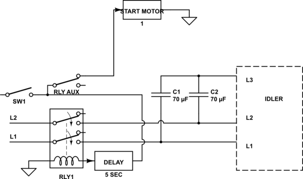 3 phase converter wiring diagram 2003 dodge ram 1500 headlight diy rotary with starter motor cutout relay in schematic
