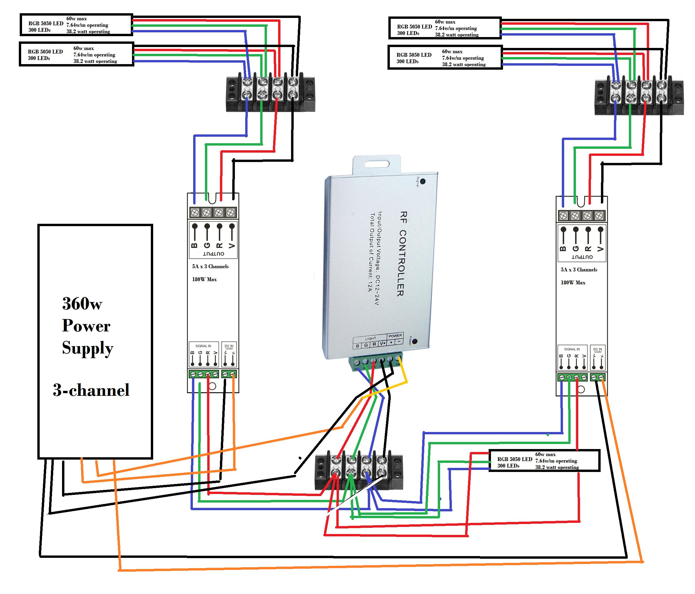 Led Strip Multiple LED's One Controller Diagram Included