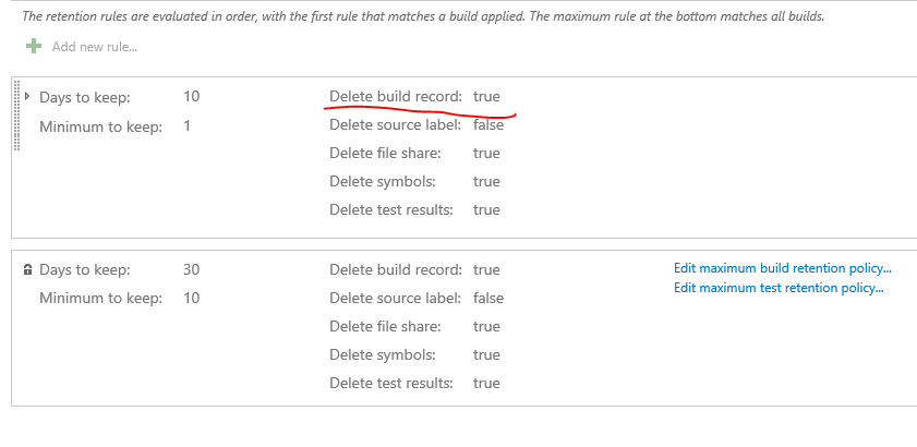 TFS 2015 Builds not being deleted by retention policy