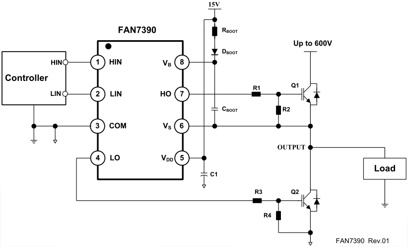 Driving high and low inputs of a MOSFET driver with a