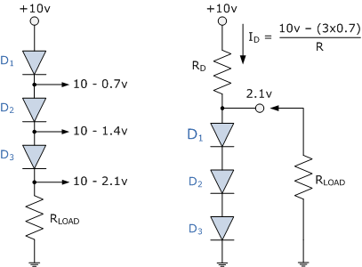 What do the two series-connected, forward biased diodes do