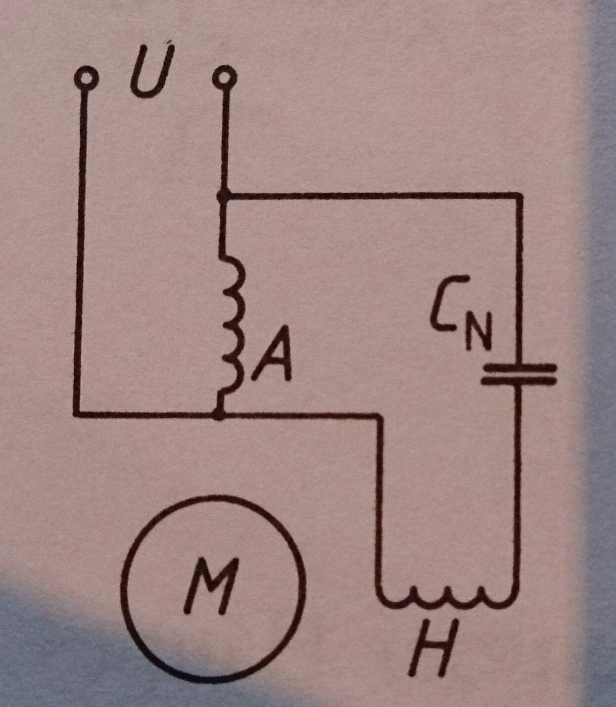 hight resolution of connections of a capacitor motor