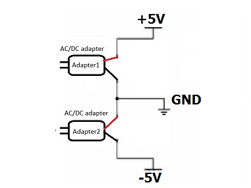 DC circuit schematic has both positive and negative supply
