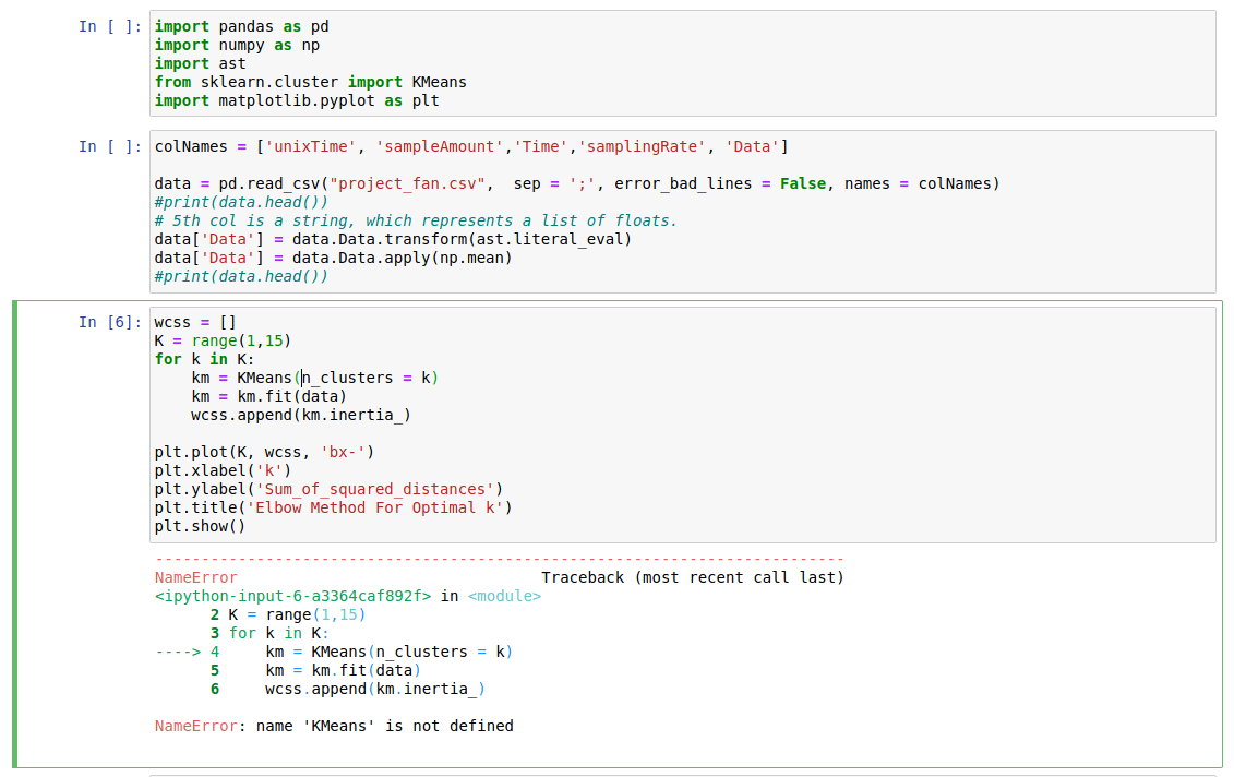 python - name 'KMeans' is not defined in Jupyter Notebook - Stack Overflow