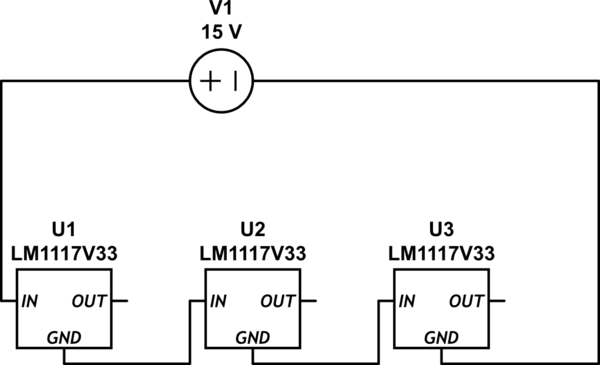 How would linear voltage regulators behave in series