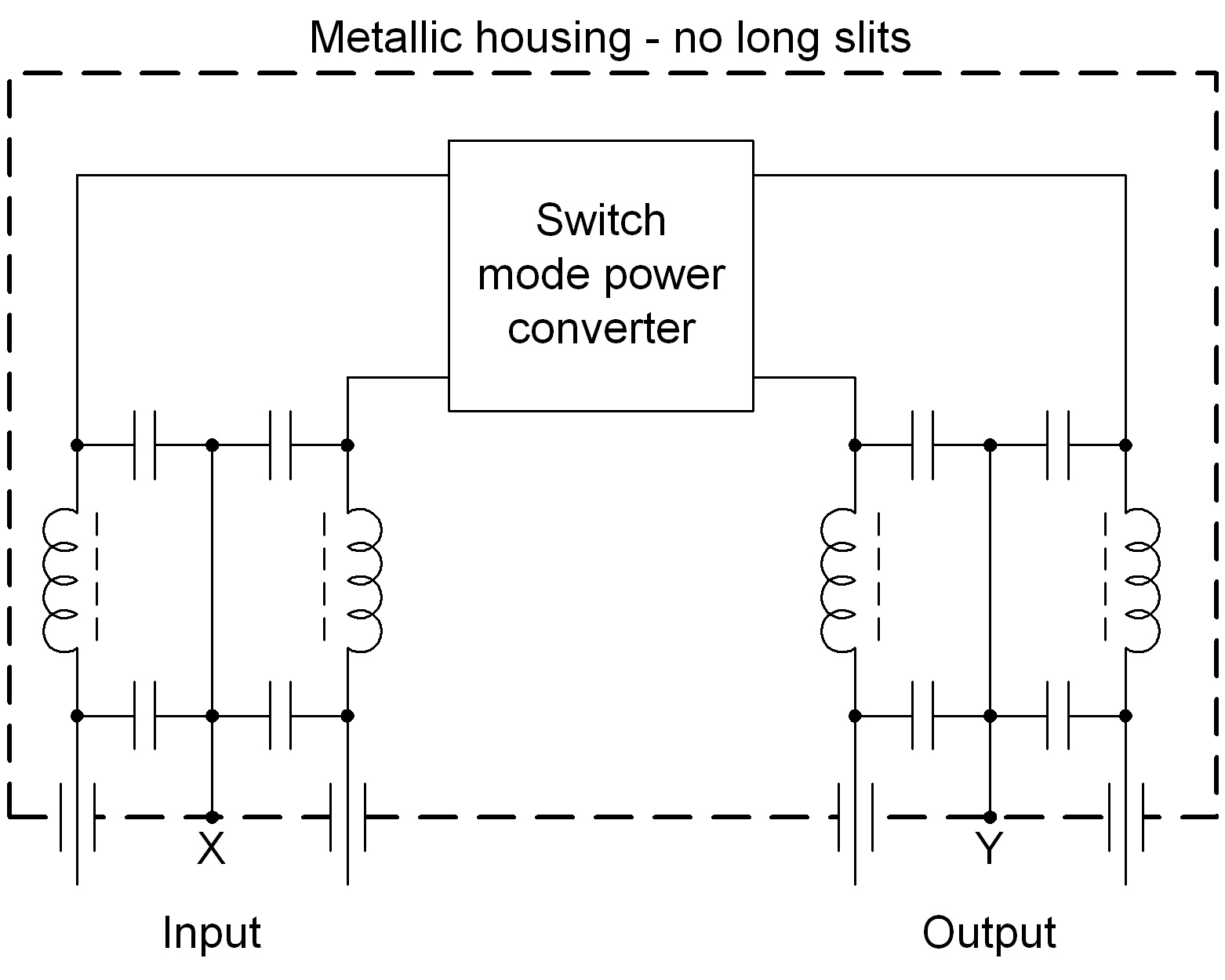hight resolution of inside the housig there should be symmetric lc rf filter for input and output the filters must be designed for the used voltages and currents