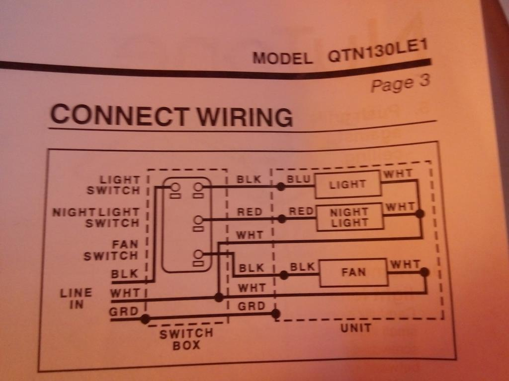 nutone bathroom exaust fan and light wiring diagrams