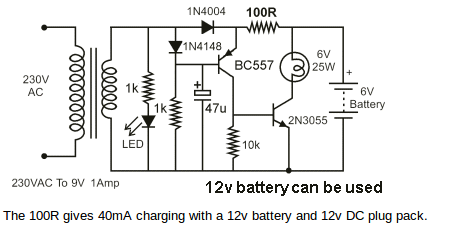 Free Wiring Diagram: 12v Emergency Light Circuit