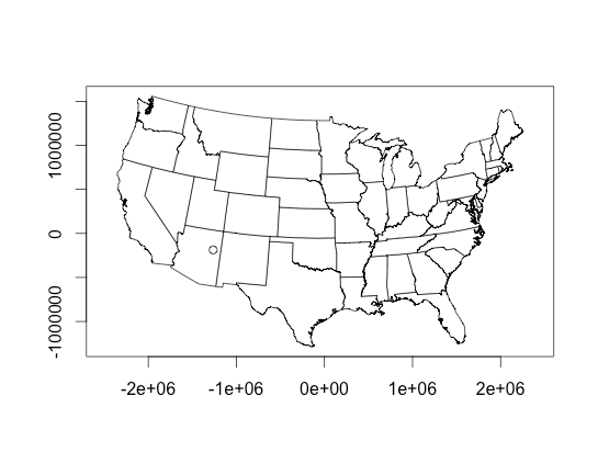 Plotting US maps with selected locations (longitude and
