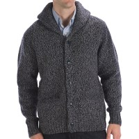 Knit Shawl Collar Sweater - Cardigan With Buttons