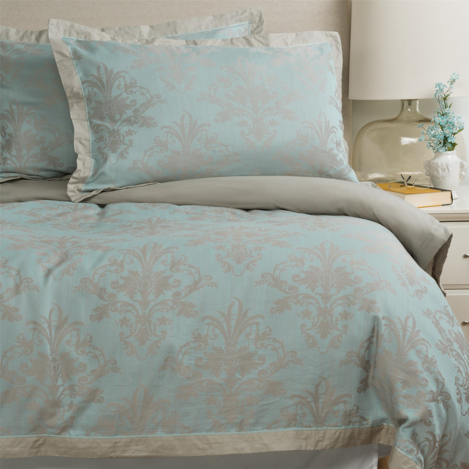 Christy Floral Damask Duvet Cover Queen 200 Tc Save 54