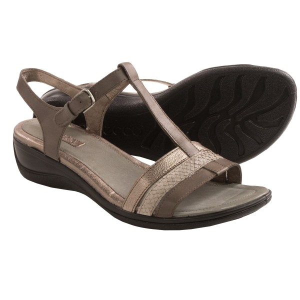 Ecco Sensata T-strap Sandals Women In Dark Clay