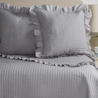 Fleur de Lis Blue Circle Dot Ruffled Quilted Pillow Shams