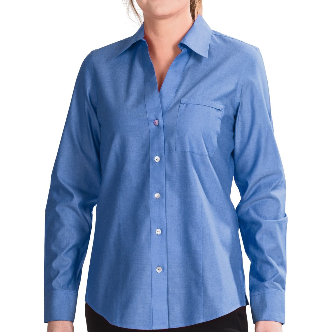 foxcroft johnny collar cotton shirt no iron long sleeve for women in china blue~p~7028n 03~1500.2 Foxcroft Blouses No Iron