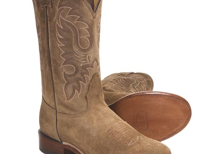 Nocona Waxy Suede Cowboy Boots Round Toe Walking Heel For Men