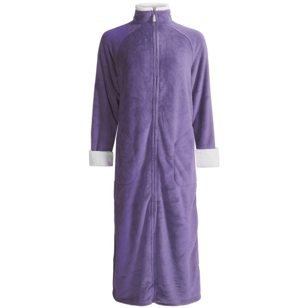 Stan Herman Plush Zip-front Robe - Long Sleeve