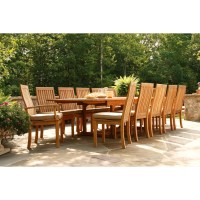 Three Birds Casual Teak Wood Dining Set - 13-Piece ...