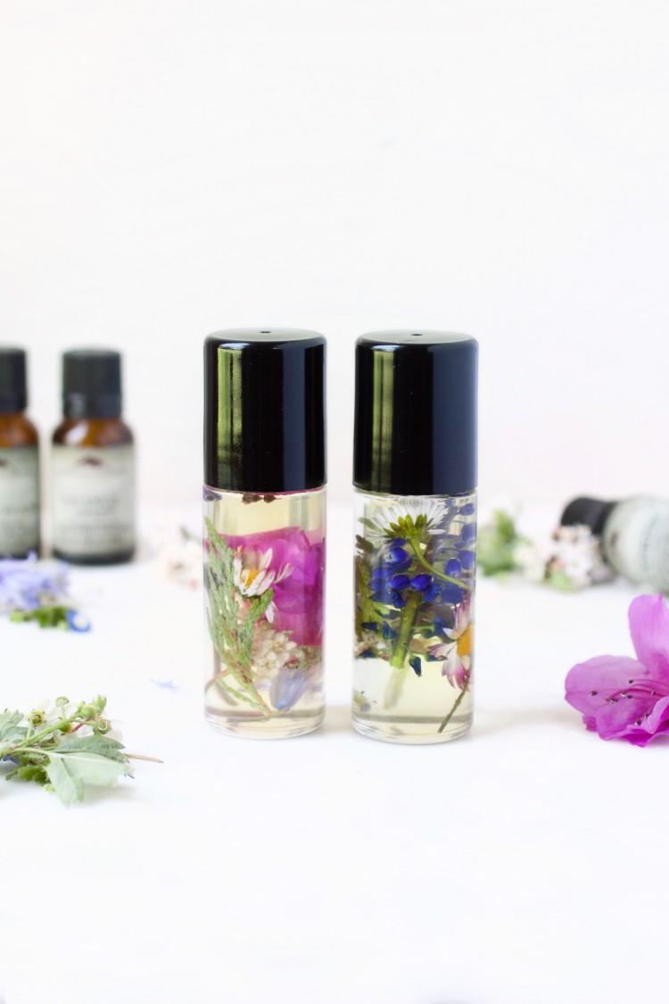 diy perfume roll on with wildflowers inside