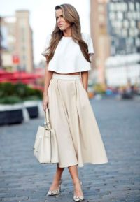 Picture Of Outfit with crop top and A line midi skirt