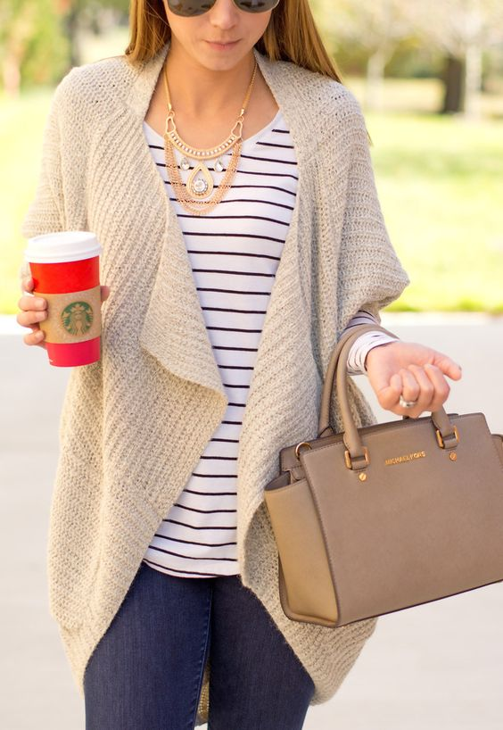Picture Of Cozy Ivory Drape Cardigan Over A Striped Shirt